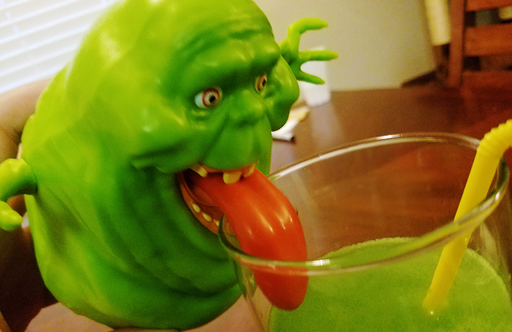 Slimer likes it but refuses to use a straw.