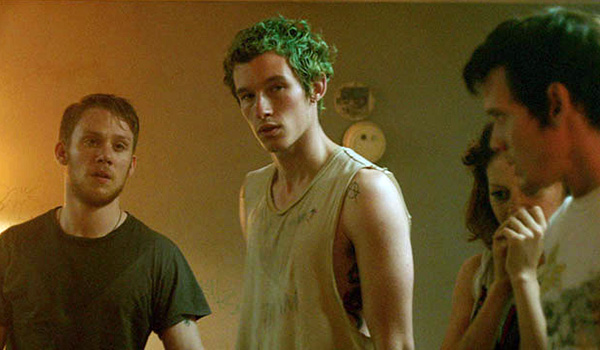 Pat (Anton Yelchin), Sam (Alia Shakwat), Reece (Joe Cole), and Tiger (Callum Turner) in the green room.