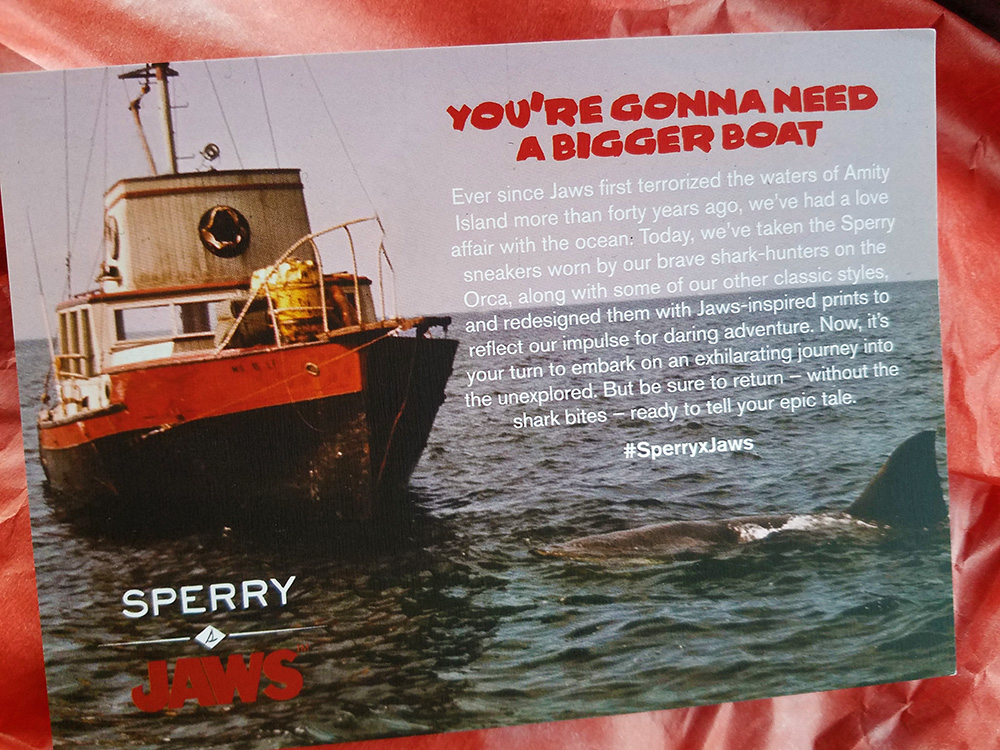 Sperry X Jaws promotional card