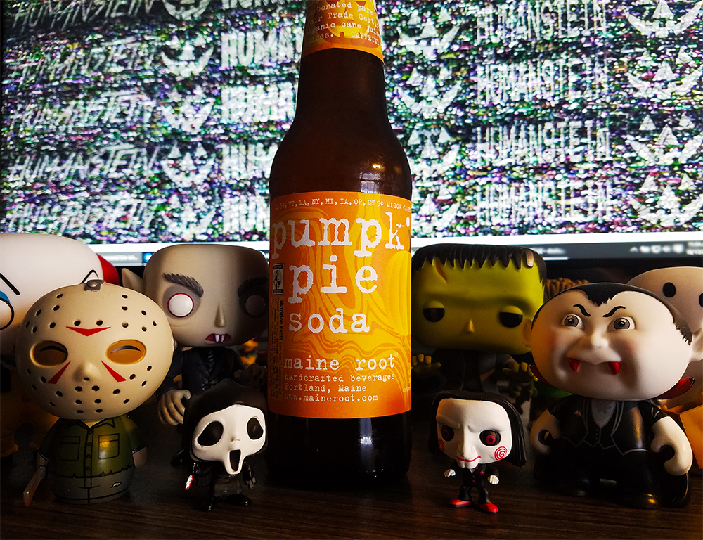 Maine Root Pumpkin Pie Soda, surrounded my spookiest desk buddies.
