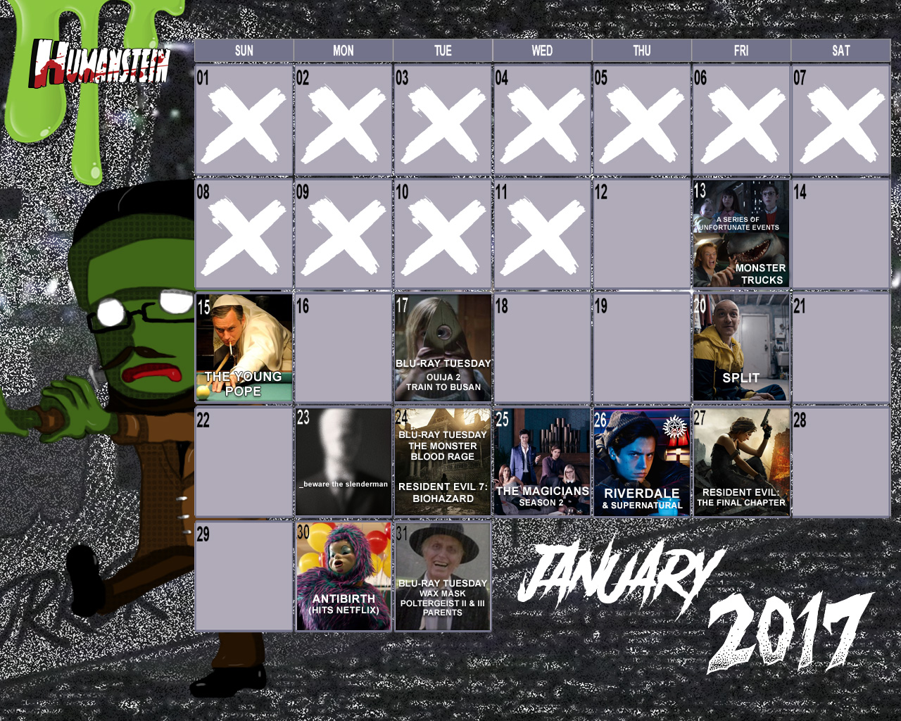 January 2017 Horror Geek Calendar